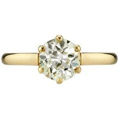 1.37 Carat Old Mine Cut Diamond Engagement Ring