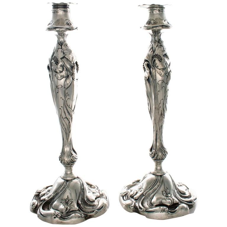 Shiebler Sterling Art Nouveau Candlesticks with Irises