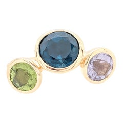 18 Karat Yellow Gold Multi-Gemstone Right Hand Ring