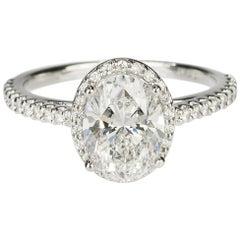 2.01 Carat D Color Oval Diamond Platinum Ring