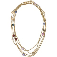 1930s Bezel Set Multicolored Sapphires by the Yard Long Gold Link Chain Necklace