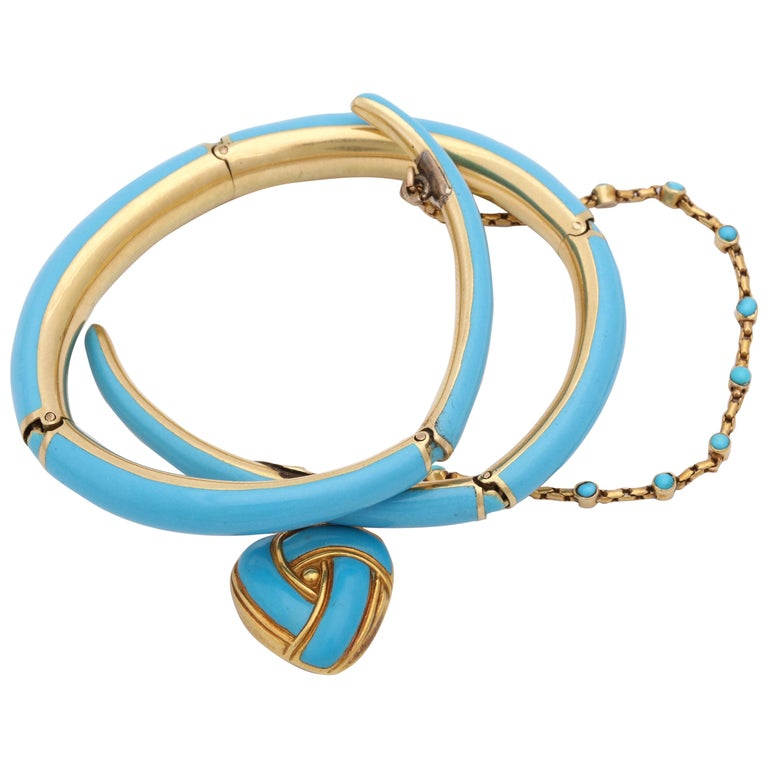 1890s Turquoise Enamel with Pearl and Turquoise Gold Wrap Around Bangle Bracelet For Sale