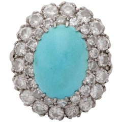 1950s Cabochon Turquoise with Diamonds Fancy White Gold Cocktail Ring