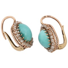 Edwardian Cabochon Turquoise with Rose Diamonds Gold French Back Drop Earrings