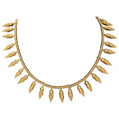 1980s Castellani Cleopatra Style Fringe Pendants High Karat Gold Necklace