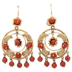 1930s Gypsy Style Coral Beads and Gold Hanging Flexible and Moveable Earrings