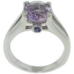 2.33 Carat Rose de France Amethyst and Sapphire Ring