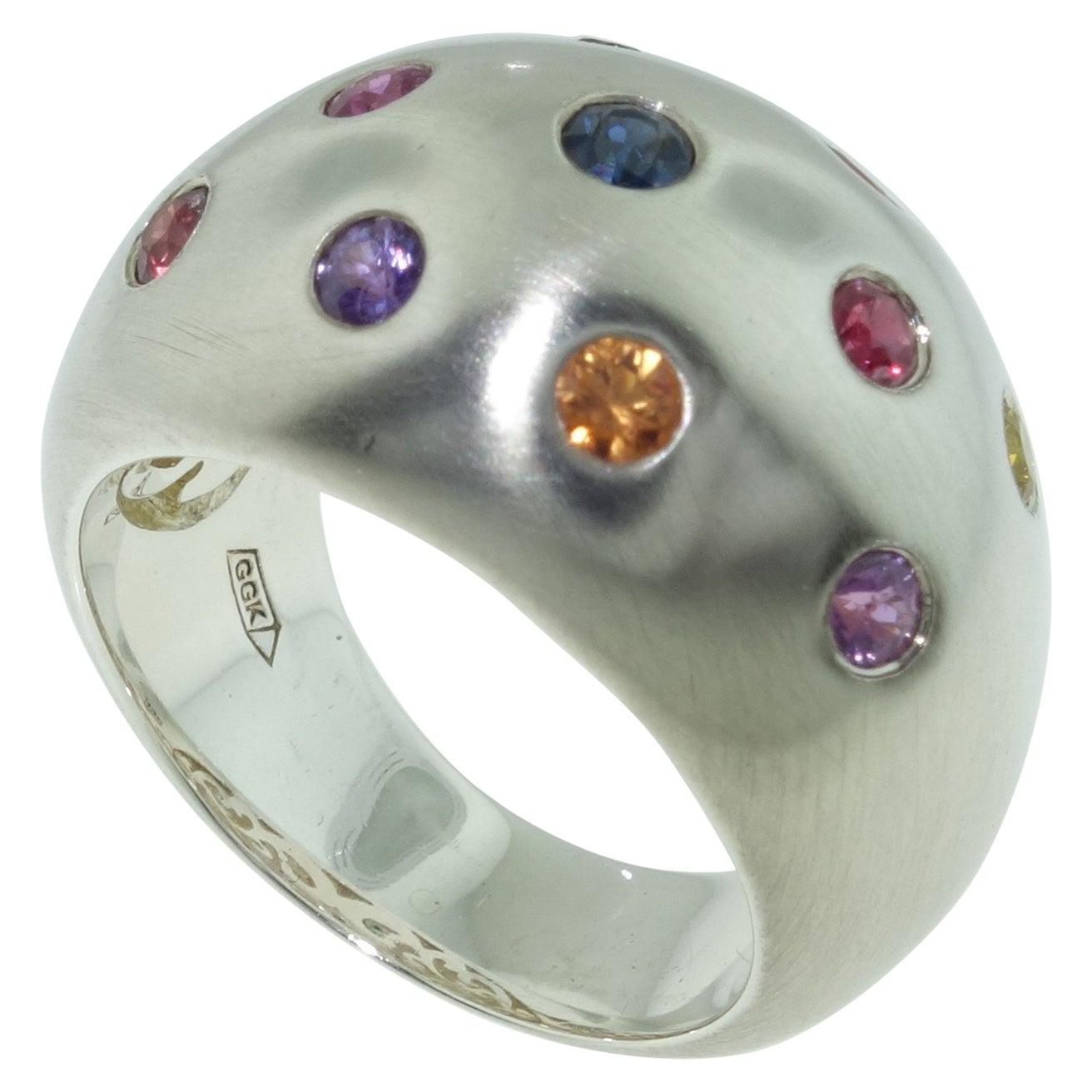 Multicolored Sapphire Gem Dome Statement Ring Estate Fine Jewelry