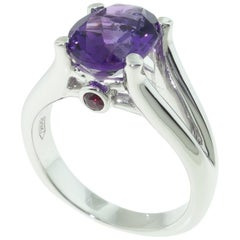 2.30 Carat Amethyst and Sapphire Solitaire Ring