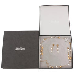 Marco Bicego 18 Karat Yellow Gold and Pearl Necklace, Earrings and Bracelet Set