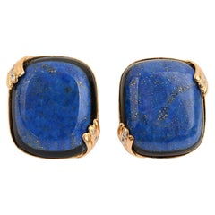 Large Lapis Lazuli and Onyx Earrings
