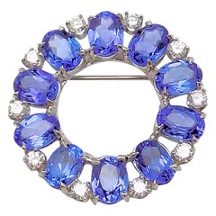 Tanzanite and Diamond Circle Brooch
