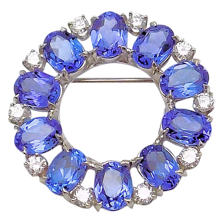 Tanzanite and Diamond Circle Brooch For Sale