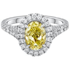 GIA Certified 1.69 Carat Yellow Oval Cut Diamond Halo Engagement Ring