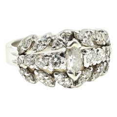 1.43 Carat Diamond 14 Karat White Gold Fashion Band Ring