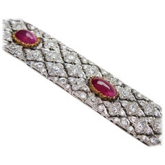 Art Deco Buccellati Diamond and Ruby Fancy Link Platinum Bracelet