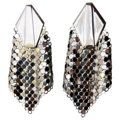 Whiting and Davis Vintage Disco Metal Mesh Earrings, 1970s