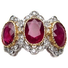 Midcentury 18 Karat Gold Buccellati Ruby and Diamond Cocktail Ring