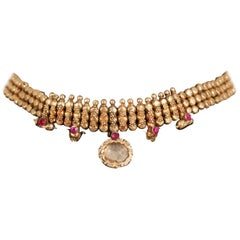 22 Karat Gold, Ruby, Crystal Choker Necklace