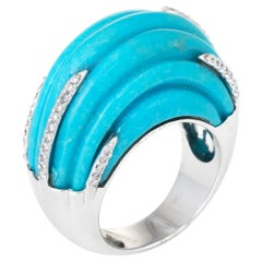 Fluted Turquoise Diamond Dome Cocktail Ring 18 Karat White Gold