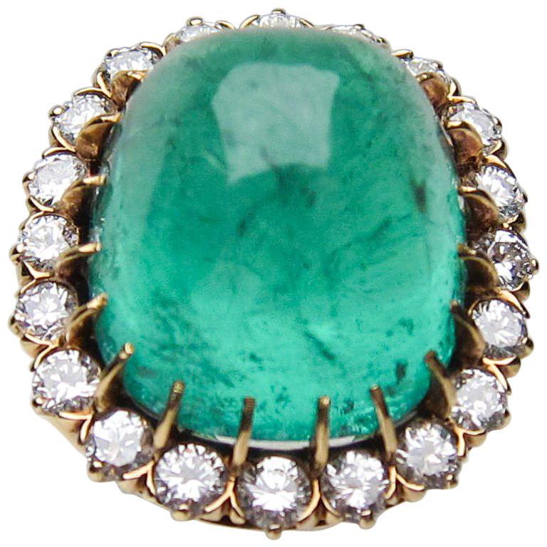 Diamond and Emerald Cabochon Cocktail Ring, circa 1940