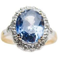 Victorian Blue Sapphire and Diamond Halo 18 Karat Gold Ring