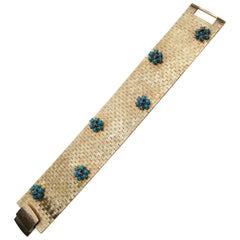 1940s Turquoise and Sapphire 14 Karat Gold Mesh Bracelet