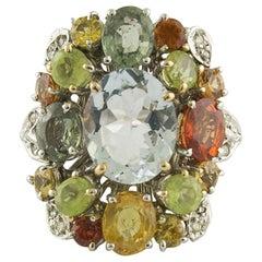 Diamonds Multi-Color Sapphires Peridots Aquamarine White Gold Ring