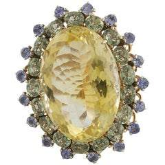 Yellow Topaz Green Sapphires Tanzanites Rose Gold and Silver Fashion Ring