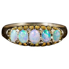 Antique Edwardian Opal Five-Stone Ring 18 Carat Dated 1907