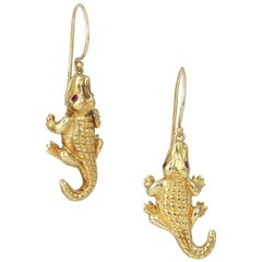 18 Karat Gold Alligator Earrings