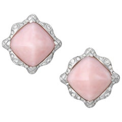 Vintage Pink Opal and Diamond Earrings
