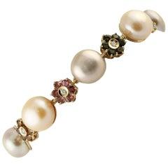 Diamonds Multi-Color Tormalines Light Pink-Violet Pearls Rose Gold Link Bracelet