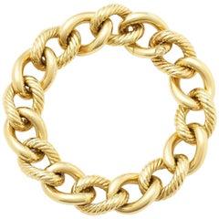 David Yurman Curb Link Yellow Gold Bracelet