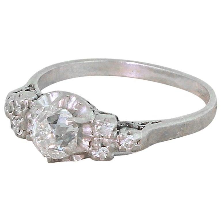 Art Deco 1.06 Carat Old Cut Diamond Engagement Ring