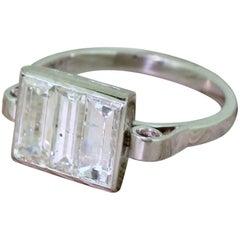 Art Deco 1.75 Carat Baguette Cut Diamond Trilogy Ring
