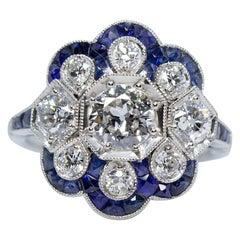 Handmade Platinum 1.90 Carat Old Mine Cut Diamonds and Sapphire Ring