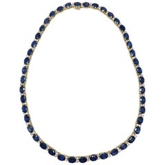 Certified 50.00 Carat Blue Sapphire and Diamond Line Gold Necklet Necklace