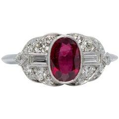 Handmade Platinum 1.50 Carat Ruby and Old Mine Cut Diamonds Ring