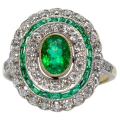 Estate Handmade 18K and Platinum  Emerald & Old Mine Cut Diamonds Ring
