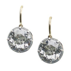 Antique Old-Cut Diamond Earrings, 6.64 Carat