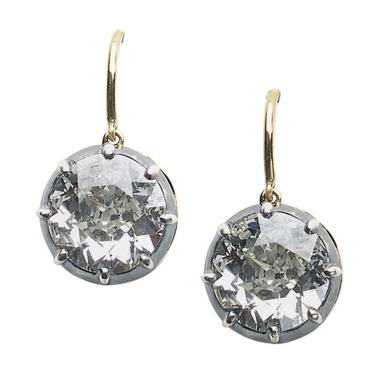 Antique Old-Cut Diamond Earrings, 6.64 Carat For Sale