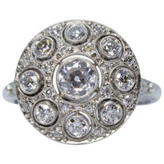 Modern Art Deco Handmade Platinum 1.30 Carat and Old Mine Cut Diamonds Ring