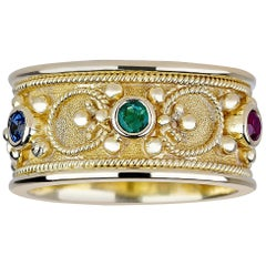 Georgios Collections 18 Karat Gold Byzantine Ring with Ruby Sapphire Emerald