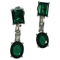 18K Gold Emerald Cut Diamonds and Synthetic Deep Vivid Green Emerald Earrings