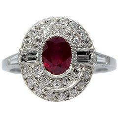 Modern Art Deco Handmade Platinum 1.20 carats. Ruby & Old Mine Cut Diamonds Ring