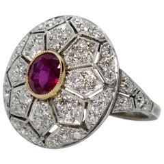 Handmade Platinum 1.10 Carat Ruby and Old Mine Cut Diamonds Ring