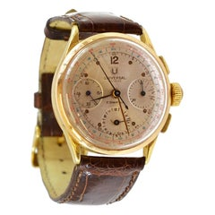 Universal Geneva Yellow Gold Compax Chronograph manual Wristwatch, circa 1950