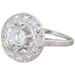 Art Deco 2.34 Carat Old Cut Diamond Cluster Ring, French, circa 1920