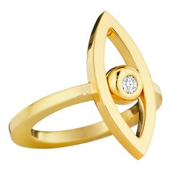 CADAR Reflections Ring, 18 Karat Yellow Gold and White Diamond
